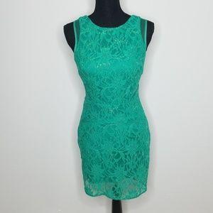 HAILEY LOGAN Small Green Mesh Cocktail Dress